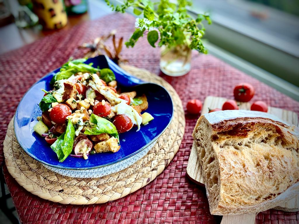 Jesal's Cherry Tomatoes  and Sourdough Bread Salad.